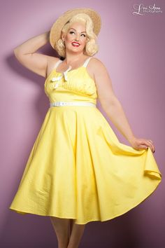 Molly Dress in Yellow with White Dots - Plus Size