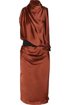Donna Karan New York Asymmetric Draped Satin Jersey Dress in Brown (rust)