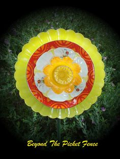 Repurposed Glass Garden Flower, Wall or Garden Art - Made of Vintage Glass/China Plates by Beyond the Picket Fence Aust