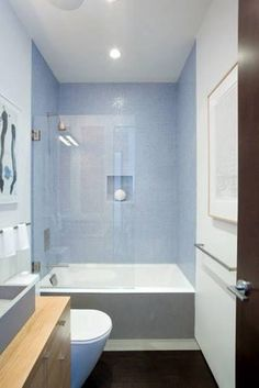 Photo Album Website Small bathroom pic clean lines short tub muted palette blue gray wood Alta Plaza Residence J
