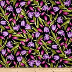Kanvas Bloom With A View Tulips Purple/Fuchsia from @fabricdotcom  Designed by Maria Kalinowski for Kanvas in association with Benartex, this fabric is perfect for quilting, apparel and home decor accents. Colors include shades of purple, magenta, black and green.