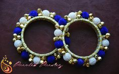 Blue skies smiling at me...... Nora - Gold and Blue Ghungroo Bangles