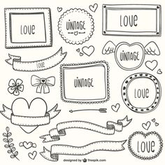 Adornos caligráficos vintage para San Valentín