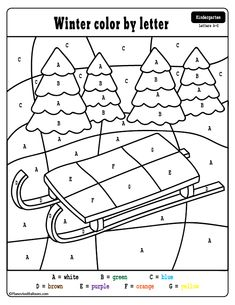 Free winter preschool printables - winter color by numbers worksheets. Fun winter coloring pages with learning letters and numbers. Kindergarten Colors, Preschool Colors, Numbers Preschool, Free Preschool, Preschool Themes, Preschool Printables, Preschool Worksheets, Number Worksheets, Coloring Worksheets