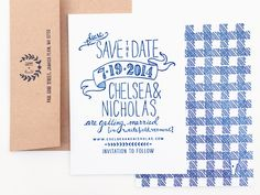 Happy Monday everyone! I spent most of this weekend dreaming of summer picnics and BBQs, so it's only fitting that we start the week with save the dates for a country theme summer wedding! Rachel from Robinson Press created the entire design by hand, with hand lettering on the front and a hand drawn gingham …