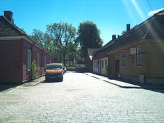 One of the streets in the Old Town and Fortress of Fredrikstad, Norway.