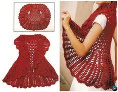 DIY Crochet Circle Vest Free Pattern-Crochet Circular Vest Sweater Jacket Patterns