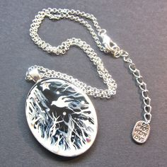 Forest Macabre White Oval Pendant | Bijou but Deadly