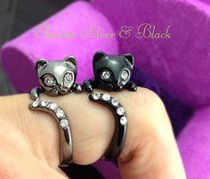 Kitty Cat Ring Chrome Dark Silver or Black Kitty Cat Ring Swarovski Crystals Adjustable Free Size Wrap Ring Kitten