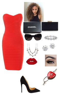 """fancy dinner date outfit"" by mckenzieturner on Polyvore featuring Christian Louboutin, Monsoon, Chanel, Harry Kotlar, Givenchy, Kenneth Jay Lane, Lime Crime and Ferrari"