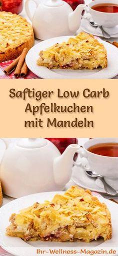 Rezept für einen Low Carb Apfelkuchen mit Mandeln - kohlenhydratarm, kalorienreduziert, ohne Zucker und Getreidemehl