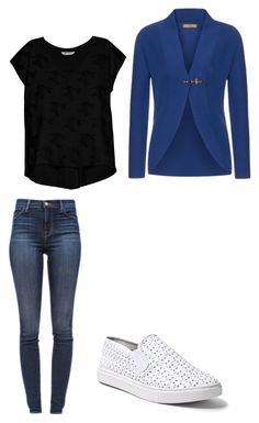 """""""Outfit for the plane"""" by purplemangs on Polyvore featuring J Brand, Steve Madden, FAY and Bobeau"""