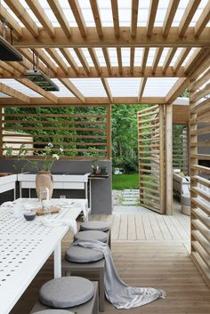 60 attached pergola design and features for your dream home 10 Backyard Pergola, Pergola Shade, Backyard Landscaping, Gazebo Roof, Landscaping Ideas, Pergola Designs, Patio Design, Garden Design, Outdoor Rooms