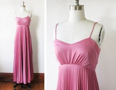 70s pink disco dress / vintage pleated maxi by RustBeltThreads
