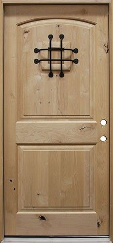 Entry Door) Knotty Alder Solid Wood Front Entry Door - Single with 2 ...