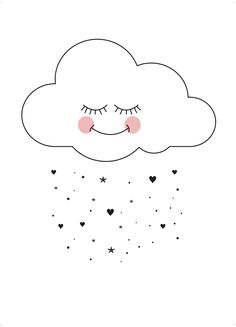Sweet cloud Art Print by Eef Lillemor Cloud Art, Cloud Drawing, Cute Illustration, Nursery Art, Cute Drawings, Cute Wallpapers, Wallpaper Wallpapers, Hand Lettering, Iphone Wallpaper