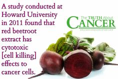 "Great stuff! ""A study conducted at Howard University in 2011 found that red beetroot extract has cytotoxic [cell killing] effects to cancer cells."" Please re-pin to support us on our mission to educate, expose, and eradicate cancer! Together we'll empower the world with life-saving knowledge! // The Truth About Cancer <3"