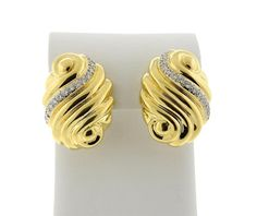 18k Gold Diamond Swirl Motif  Earrings Featured in our upcoming auction on March 16!