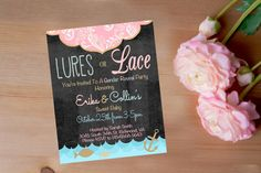 """Gender Reveal Invitation, Baby Shower Invitation, Professional Paper or Digital Download Options, 5x7"""", Lures and Lace or Custom Theme by DaintyPress on Etsy https://www.etsy.com/listing/250442249/gender-reveal-invitation-baby-shower"""