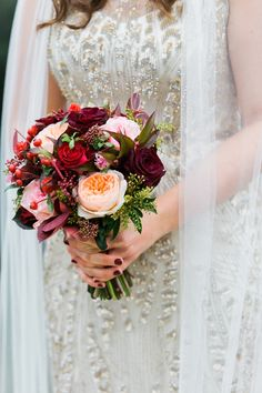 Deep red, pink and purple flower bouquet  Countryside Winter. Images by Jade Osborne Photography Wedding