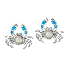 Silver Rhodium Plated Shiny Created Opal Crab & White Pearl Earrings ($54) ❤ liked on Polyvore featuring jewelry, earrings, silver earrings, opal earrings, pearl earrings jewellery, silver pearl earrings and pearl jewellery