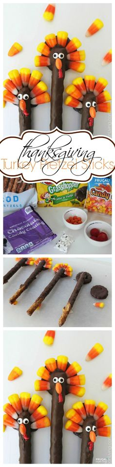Turkey Pretzels - Thanksgiving Kids Food Craft usingh chocolatge, candy corn and pretzels on Frugal Coupon Living.