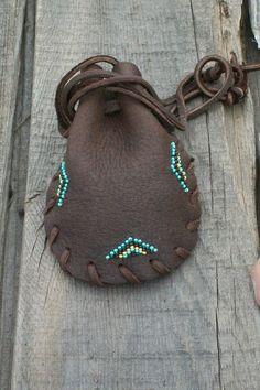 Beaded drawstring pouch  Buckskin medicine bag  by thunderrose