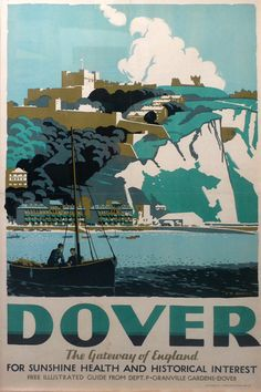 Vintage Travel Poster: The White Cliffs of Dover, England Silkscreen print styles for WIU/Macomb t-shirts art night events Posters Uk, Railway Posters, Vintage Travel Posters, Party Vintage, Vintage Ski, England Travel Poster, Dover England, White Cliffs Of Dover, Dover White