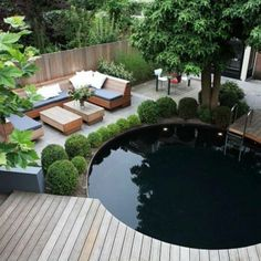 garden design - Magnificent Patio Design Ideas In Your Garden Backyard Pool Designs, Swimming Pool Designs, Patio Design, Backyard Ponds, Tropical Landscaping, Outdoor Landscaping, Round Pool, Back Gardens, Beautiful Gardens