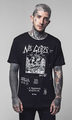 Shop New Disturbia Men's clothes, accessories, footwear and lifestyle products. Types Of T Shirts, Cut Shirts, Punk Outfits, Chinese Clothing, Graphic Tee Shirts, Tee Design, Cool Tees, Shirt Designs, Menswear