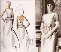 From concept to execution: Cassini's iconic vision for Jacqueline Kennedy in a signature bow and sophisticated bateau neckline.