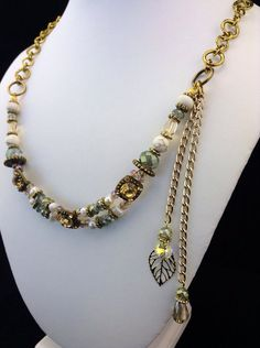 """Bohemian Princess 21 1/2"""" Swarovski and Fresh Water Pearl Necklace with Elegant Dangling Chains LoveLeaPiecesbyMe"""