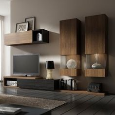 Wohnwand Black Sun für TVs bis zu - picture for you Living Room Wall Units, Living Room Tv Unit Designs, Living Room Furniture, Living Room Decor, Tv Furniture, Modern Furniture, Living Rooms, Modern Tv Wall Units, Muebles Living