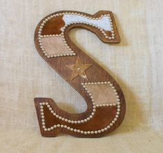 Cowhide Wall Letter S Western Home Decor Wall by LizzyandMe