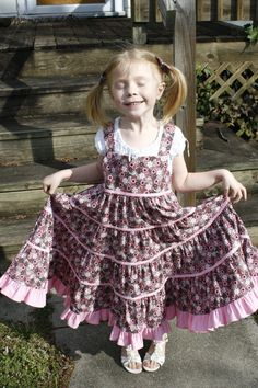 Little Girls Long Modest Pink and Brown Floral Tiered Ruffled