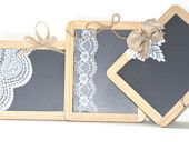 3 Vintage Lace and burlap Chalkboards for  Wedding
