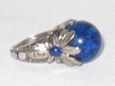 7 Christian Dior VTG 80s High Ball Setting Silver Lapis Lazuli Gem Cocktail Ring #ChristianDior #Cocktail