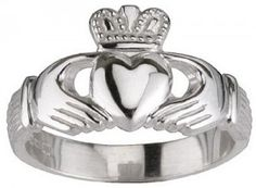 Claddagh ring: Traditional Irish symble for Love (heart) Friendship (hands) and Loyalty (crown). Love this, recently bought my boyfriend a titanium ring with this symble engraved in it.