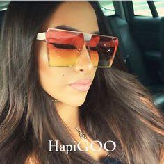 0fa7d37bfcc2a3 US $6.78 40% OFF|HAPIGOO Vintage Oversized Square Rimless Sunglasses Women  Men Mirror Flat top Big Glasses Brand Designer Sun Glasses For Female-in  Women's ...