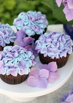 Hydrangea cupcakes. Love. Use a Wilton 2D tip (a large closed star tip), pipe large, loose star shapes around the edge of the cupcake then filled in the center..
