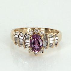 Pink Sapphire Diamond Cocktail Ring Vintage 14 Karat Yellow Gold Estate Fine Jewelry
