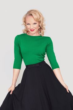 Bettie Page Clothing - 50s Madmen Green Pullover 3/4