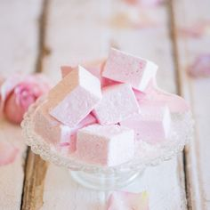 Rosewater flavored marshmallows, light as clouds. Very easy recipe!