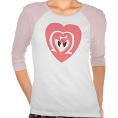 Flamingos Love Women's Raglan Shirt; Abigail Davidson Art; ArtisanAbigail at Zazzle