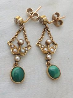 Fine pair of Victorian green Turquoise & seed Pearl 15ct gold drop earrings