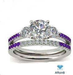 14k White Gold Finish Round Diamond & Amethyst 925 Silver Bridal Ring Set 2.79Ct #Affoin8