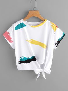 Shop Graffiti Print Knot Side Tee at ROMWE, discover more fashion styles online. Cute Lazy Outfits, Crop Top Outfits, Girly Outfits, Pretty Outfits, Stylish Outfits, Girls Fashion Clothes, Teen Fashion Outfits, Outfits For Teens, Cute Shirt Designs