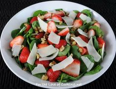 For the Love of Cooking » Spinach Salad with Strawberry, Walnut, and Parmesan Shavings