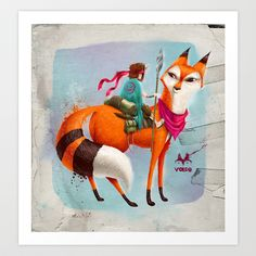 Fox Art Print by Andres Moncayo -