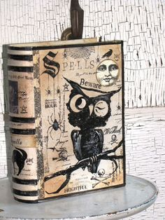 LARGE Vintage Paper Mache Halloween Witch's Book by JanieDMattern, $35.00